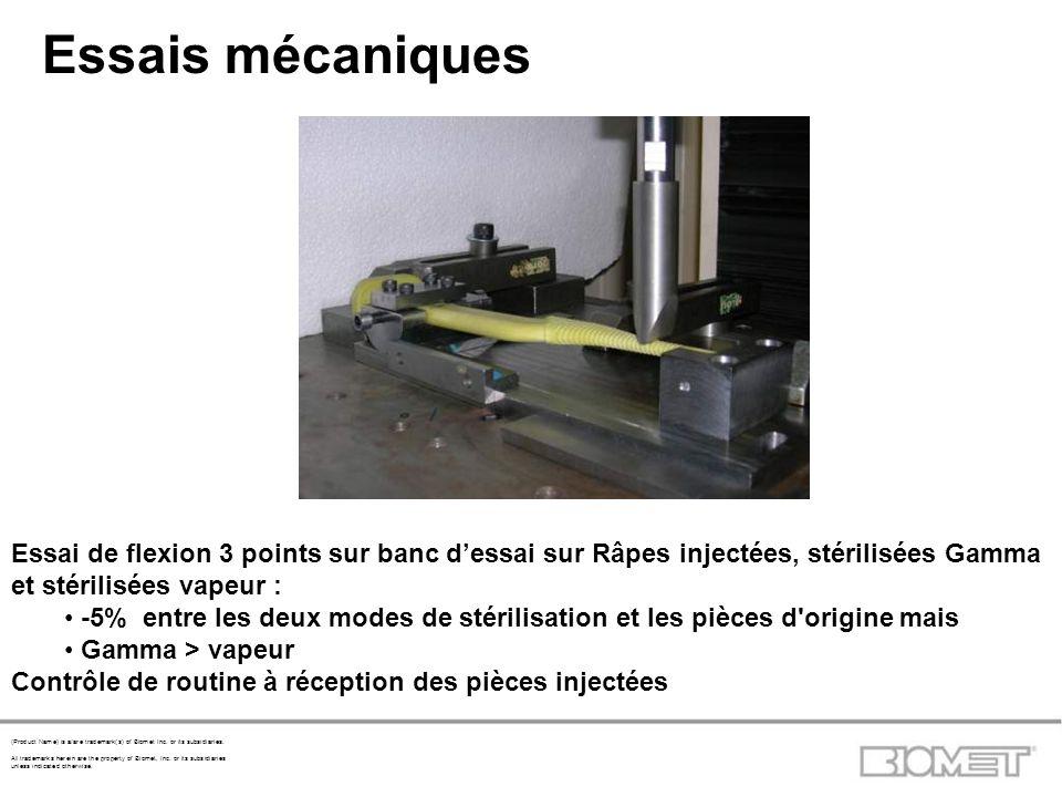 Essais mécaniques Essai de flexion 3 points sur banc d'essai sur Râpes injectées, stérilisées Gamma et stérilisées vapeur :