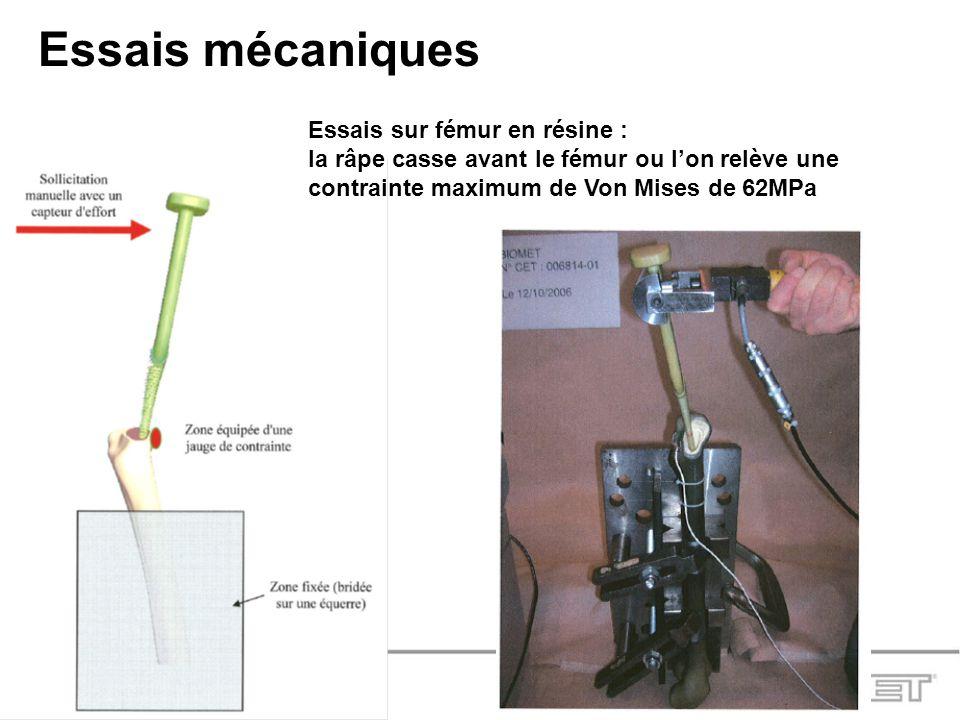 Essais mécaniques Essais sur fémur en résine :