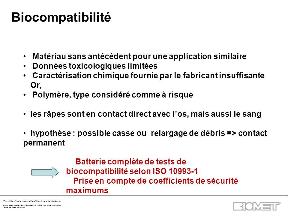 Biocompatibilité Matériau sans antécédent pour une application similaire. Données toxicologiques limitées.