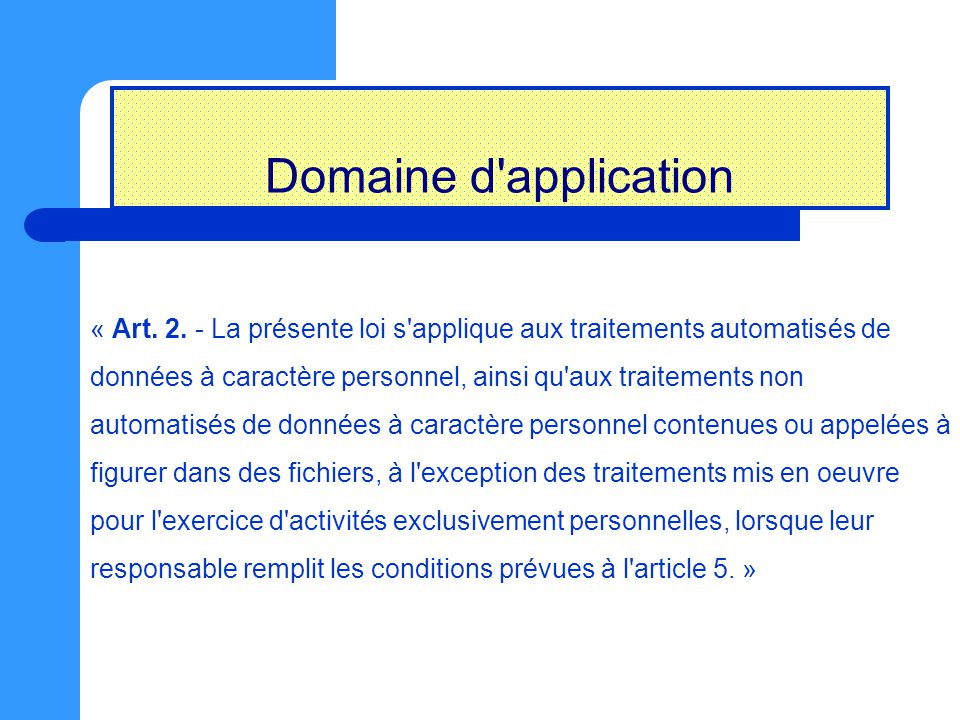 Domaine d application