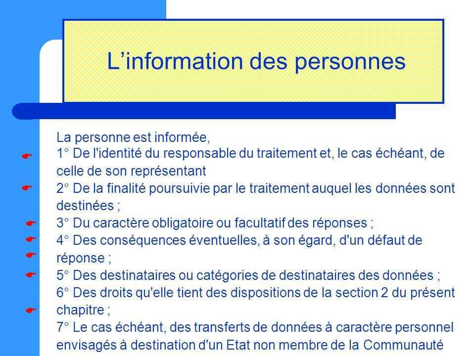 L'information des personnes