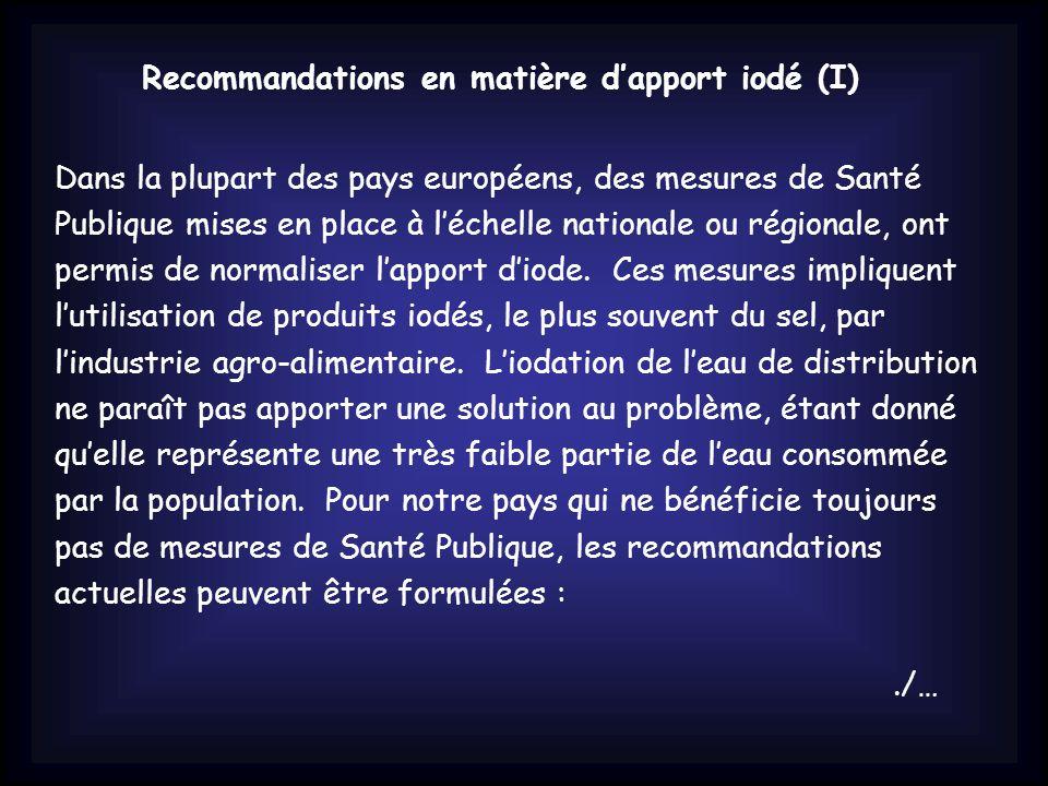 Recommandations en matière d'apport iodé (I)