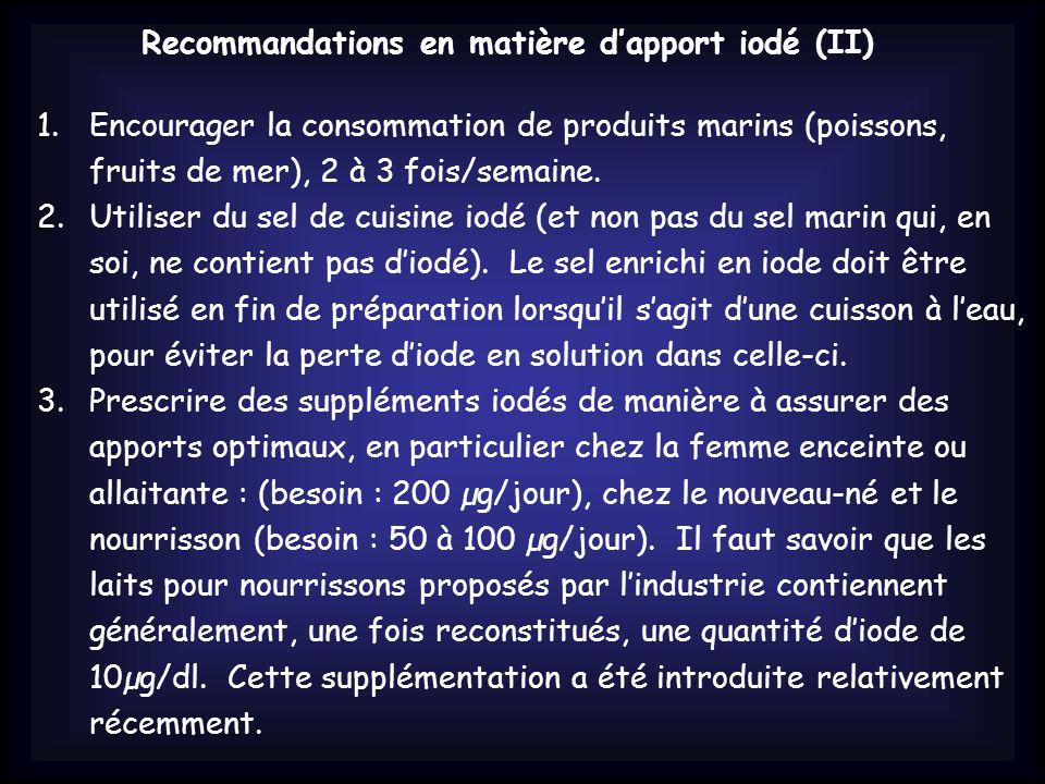 Recommandations en matière d'apport iodé (II)