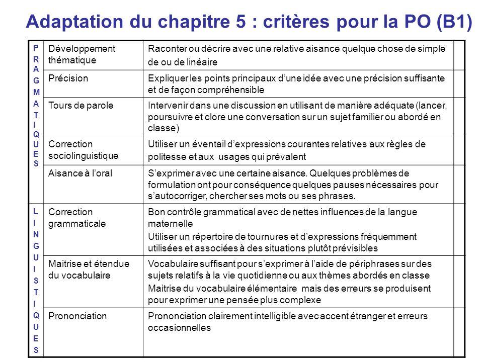 Adaptation du chapitre 5 : critères pour la PO (B1)
