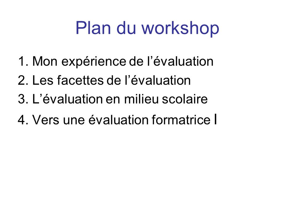 Plan du workshop