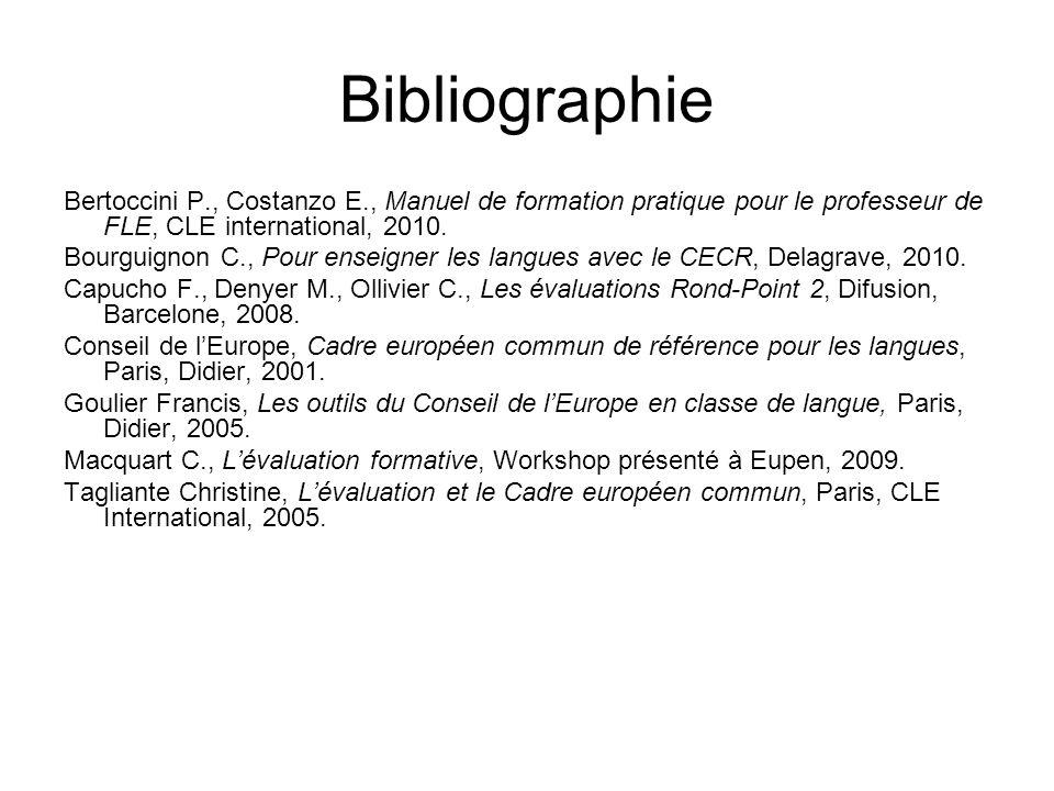 Bibliographie Bertoccini P., Costanzo E., Manuel de formation pratique pour le professeur de FLE, CLE international, 2010.
