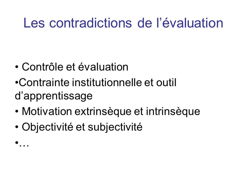 Les contradictions de l'évaluation
