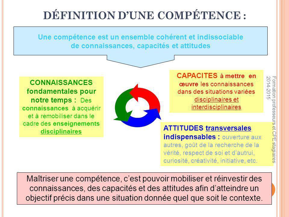 DÉFINITION D'UNE COMPÉTENCE :