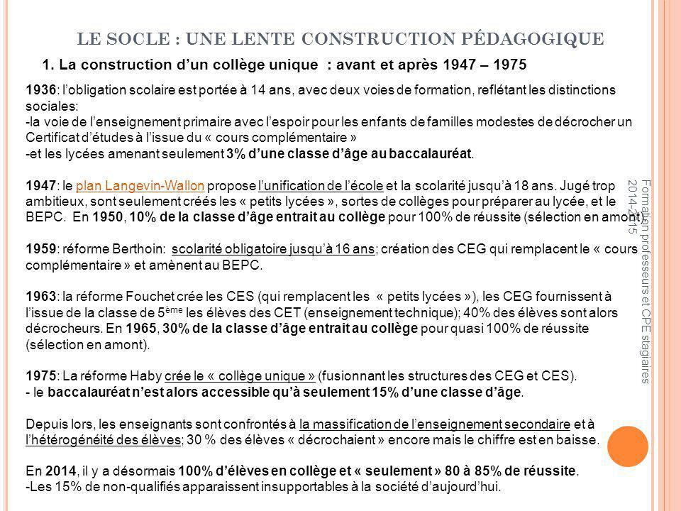 LE SOCLE : UNE LENTE CONSTRUCTION PÉDAGOGIQUE