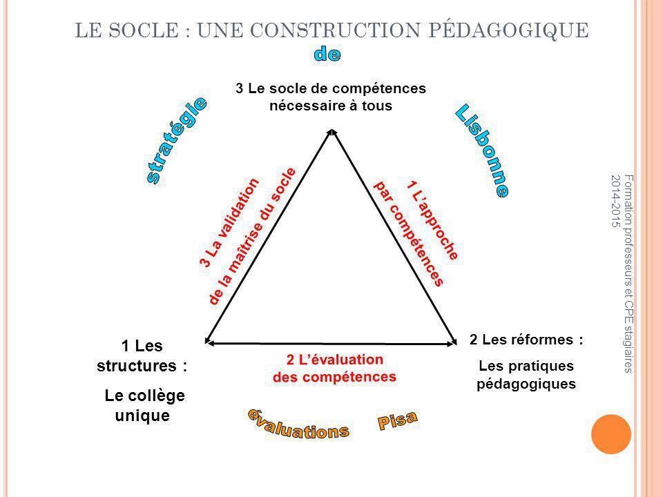 LE SOCLE : UNE CONSTRUCTION PÉDAGOGIQUE