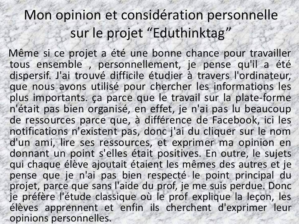 Mon opinion et considération personnelle sur le projet Eduthinktag