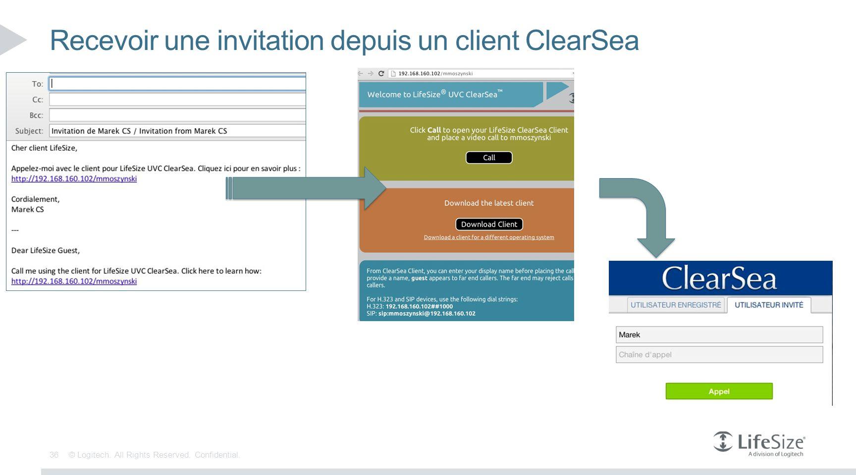 Recevoir une invitation depuis un client ClearSea