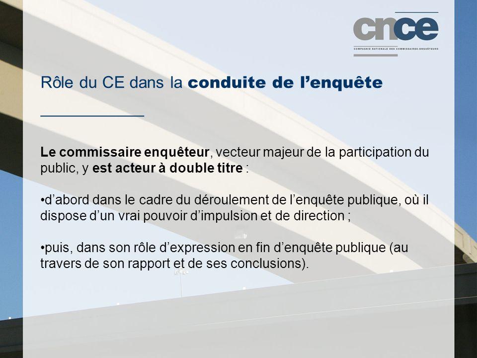Rôle du CE dans la conduite de l'enquête ___________
