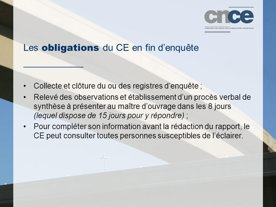 Les obligations du CE en fin d'enquête ___________