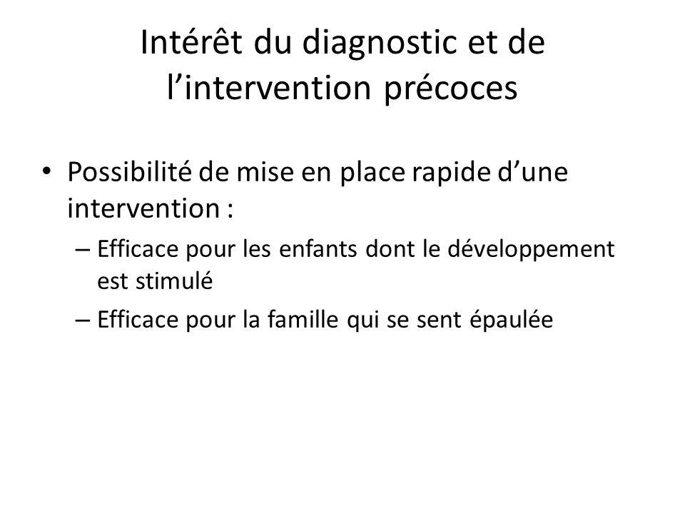 Intérêt du diagnostic et de l'intervention précoces