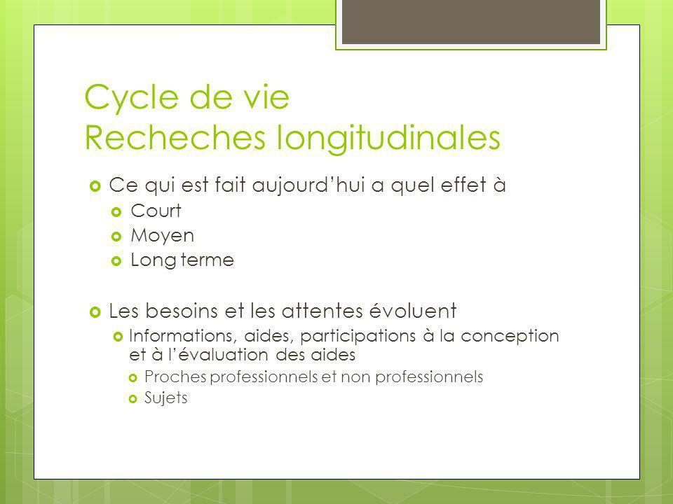 Cycle de vie Recheches longitudinales