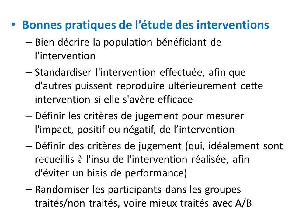 Bonnes pratiques de l'étude des interventions
