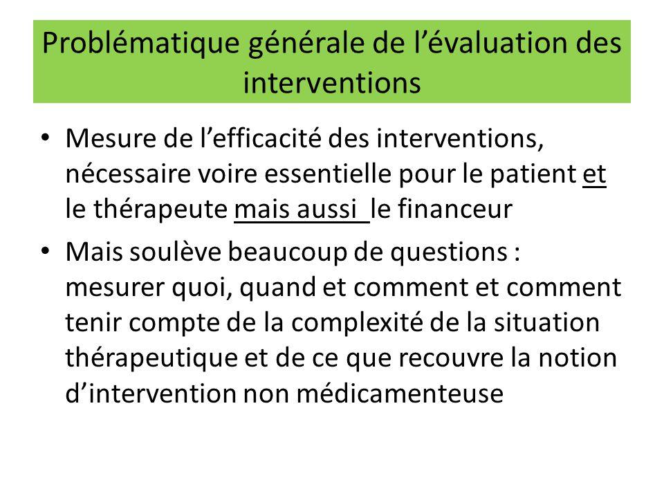Problématique générale de l'évaluation des interventions