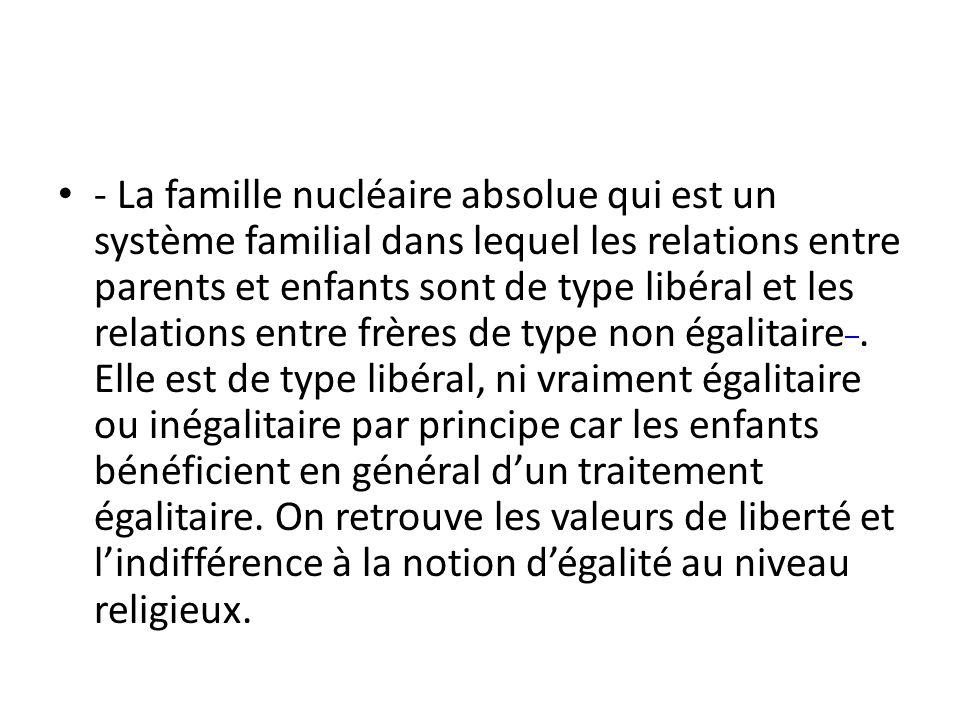 - La famille nucléaire absolue qui est un système familial dans lequel les relations entre parents et enfants sont de type libéral et les relations entre frères de type non égalitaire .
