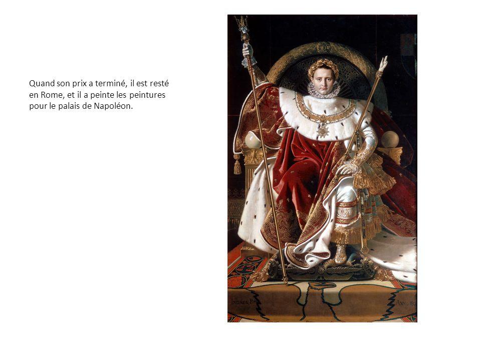 Quand son prix a terminé, il est resté en Rome, et il a peinte les peintures pour le palais de Napoléon.