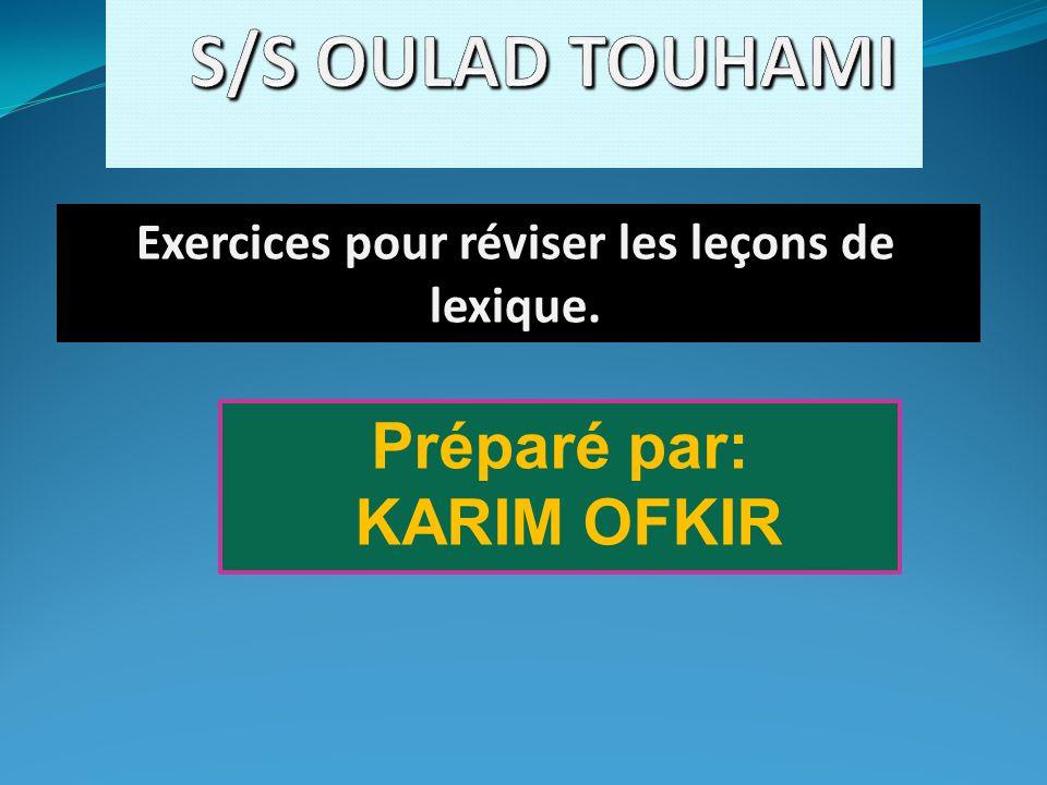 Exercices pour réviser les leçons de lexique.