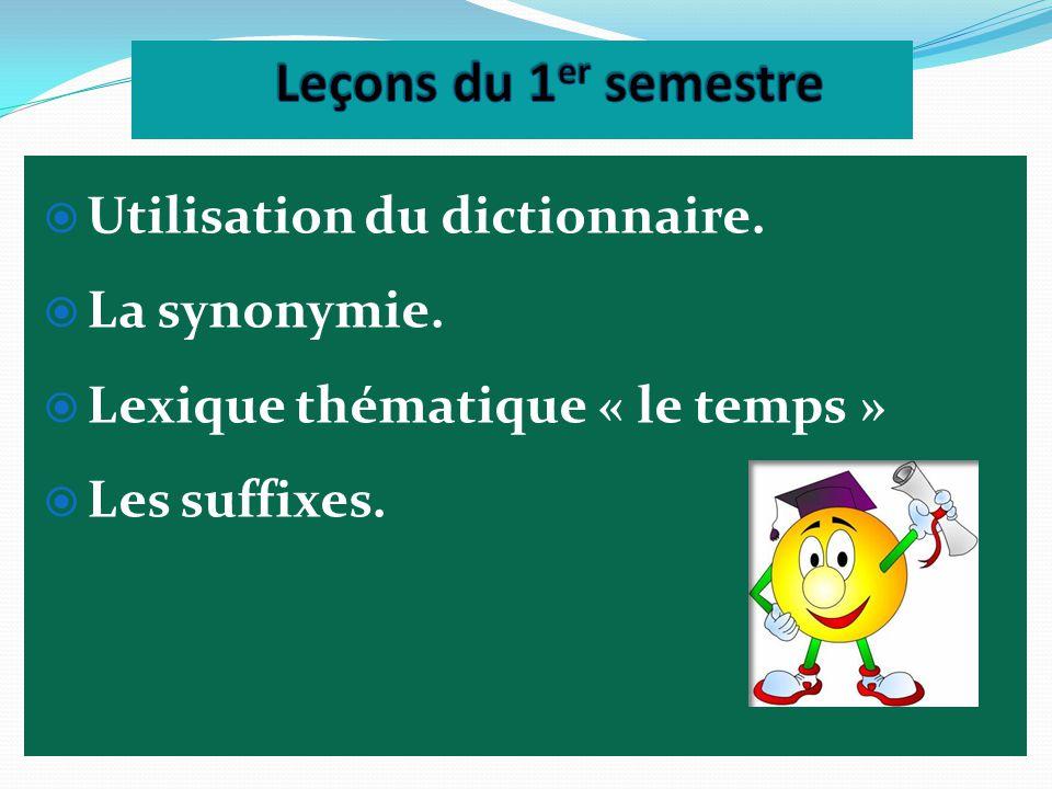 Leçons du 1er semestre Utilisation du dictionnaire. La synonymie.