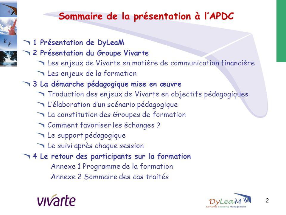 Sommaire de la présentation à l'APDC