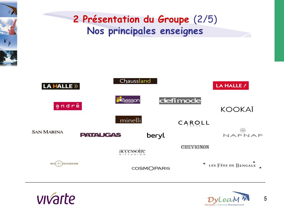 2 Présentation du Groupe (2/5) Nos principales enseignes