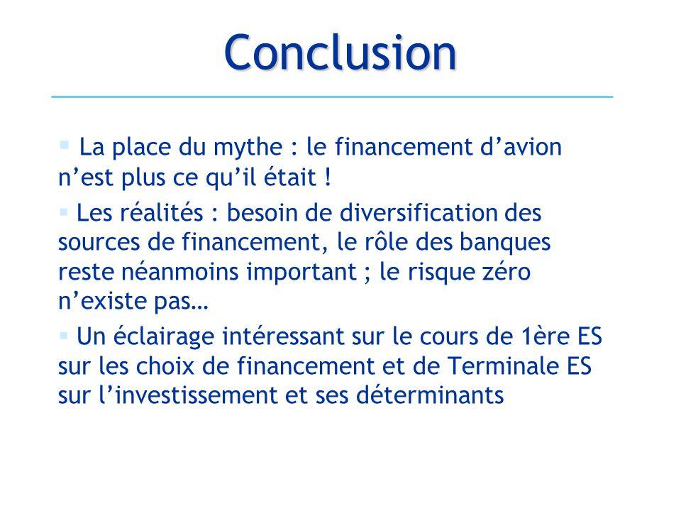 Conclusion La place du mythe : le financement d'avion n'est plus ce qu'il était !