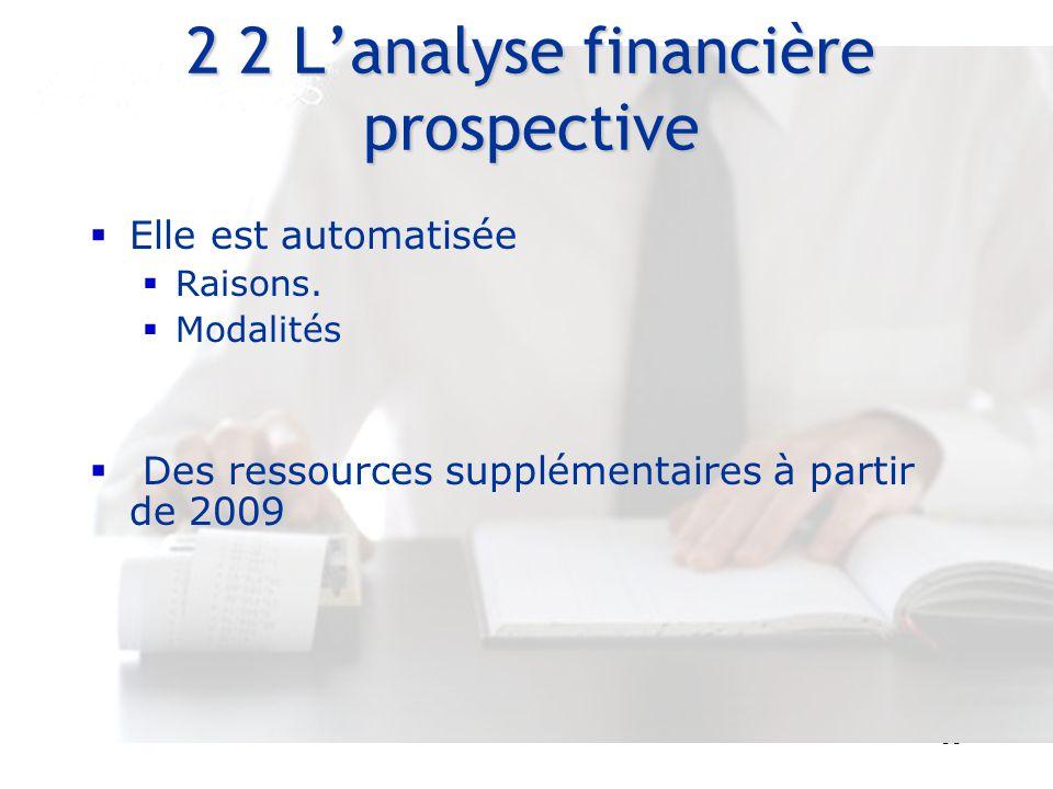 2 2 L'analyse financière prospective