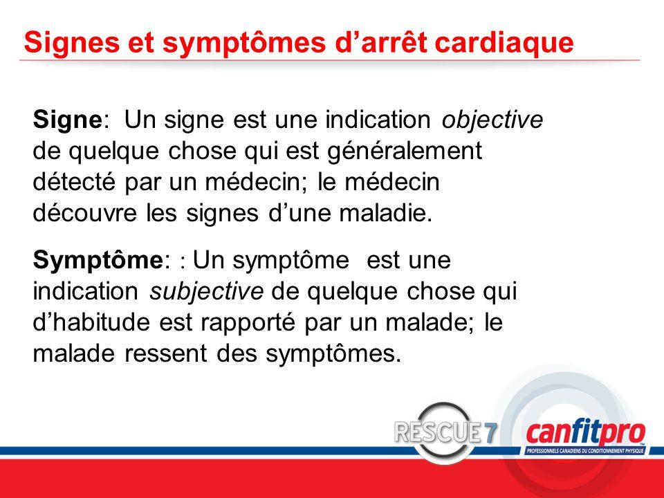 Signes et symptômes d'arrêt cardiaque