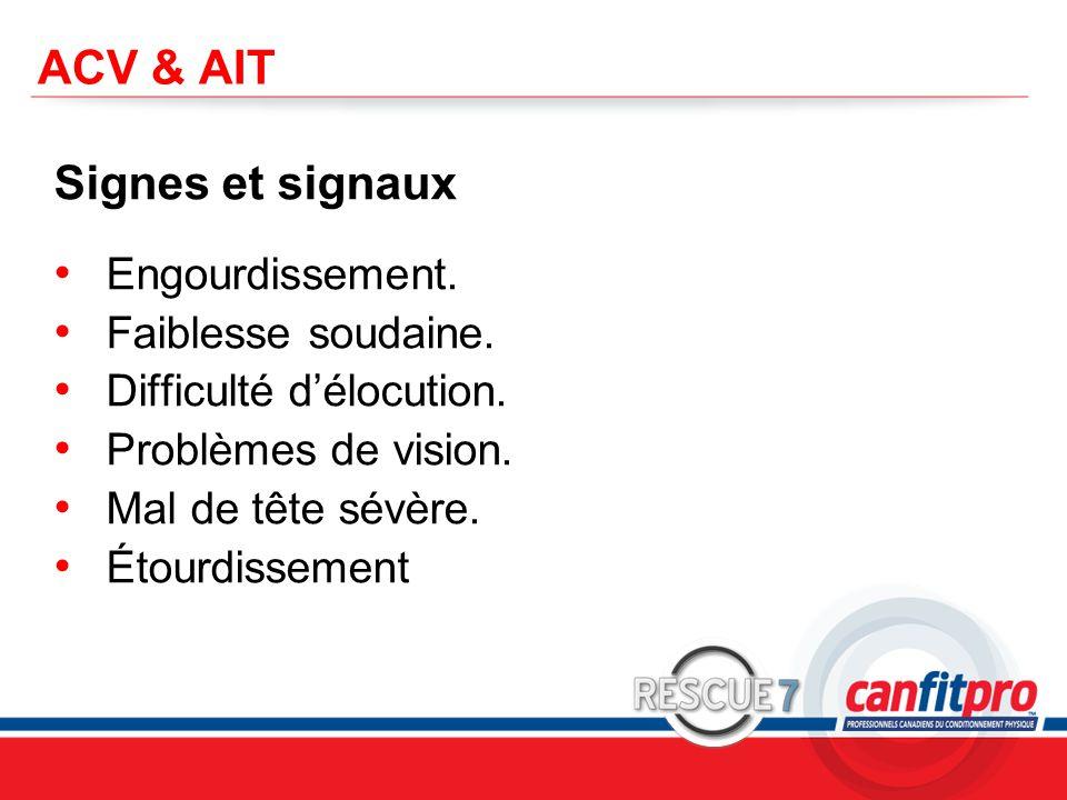 ACV & AIT Signes et signaux Engourdissement. Faiblesse soudaine.