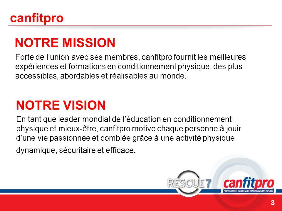 canfitpro NOTRE MISSION NOTRE VISION