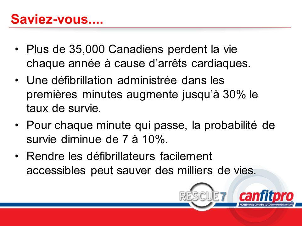 Saviez-vous.... Plus de 35,000 Canadiens perdent la vie chaque année à cause d'arrêts cardiaques.