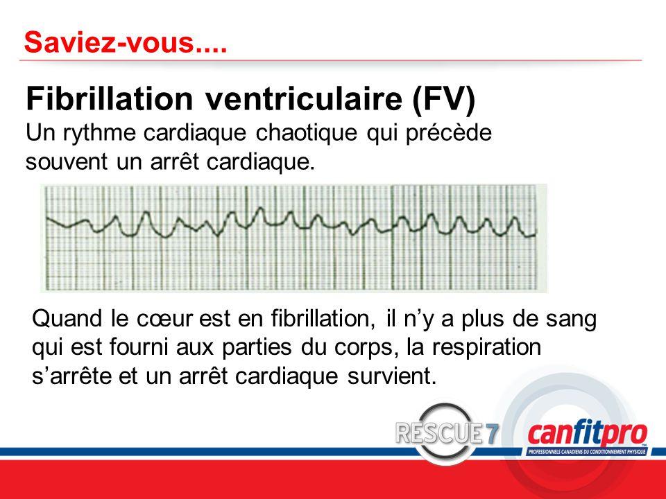 Saviez-vous.... Fibrillation ventriculaire (FV) Un rythme cardiaque chaotique qui précède souvent un arrêt cardiaque.
