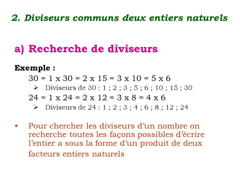 2. Diviseurs communs deux entiers naturels