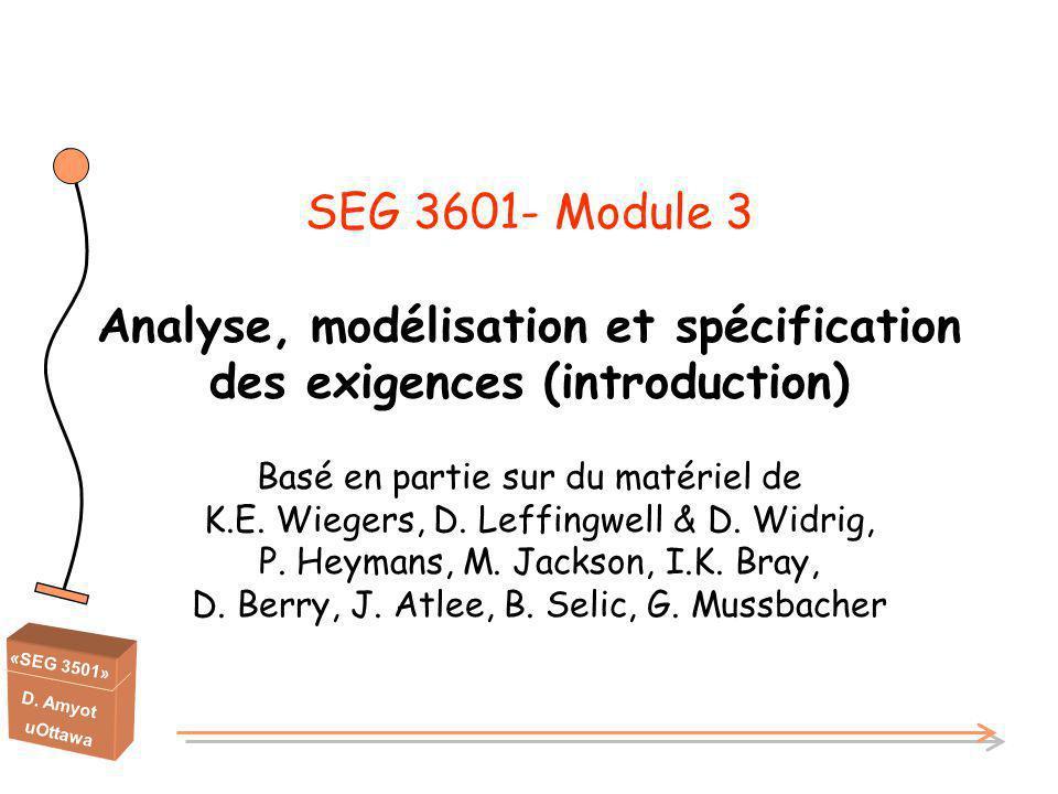 SEG 3601- Module 3 Analyse, modélisation et spécification des exigences (introduction)