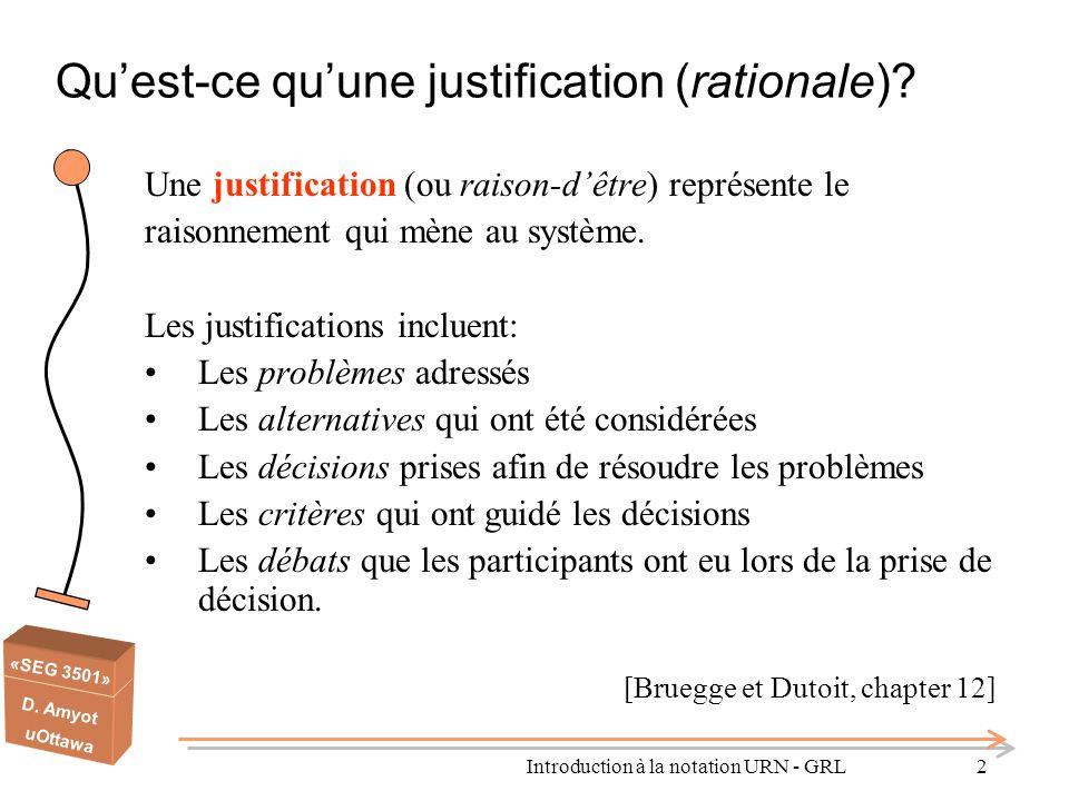 Qu'est-ce qu'une justification (rationale)