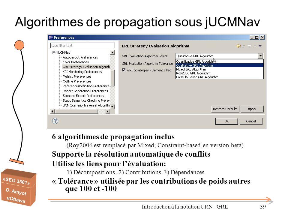 Algorithmes de propagation sous jUCMNav