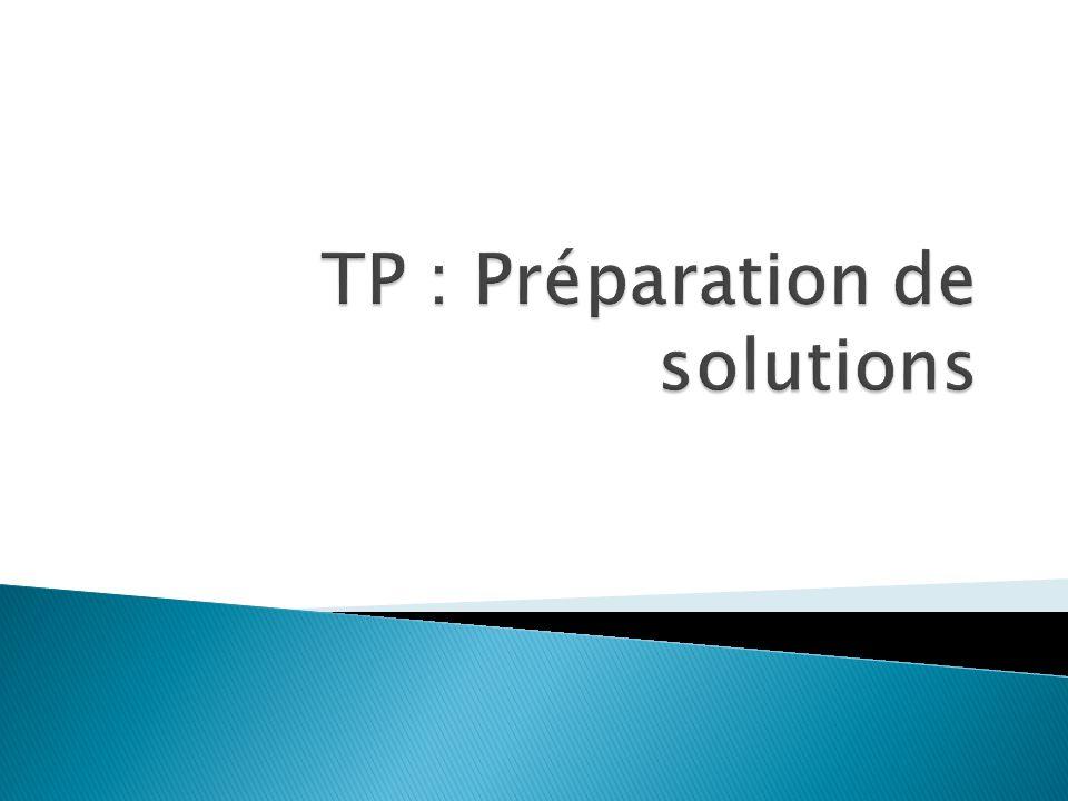 TP : Préparation de solutions