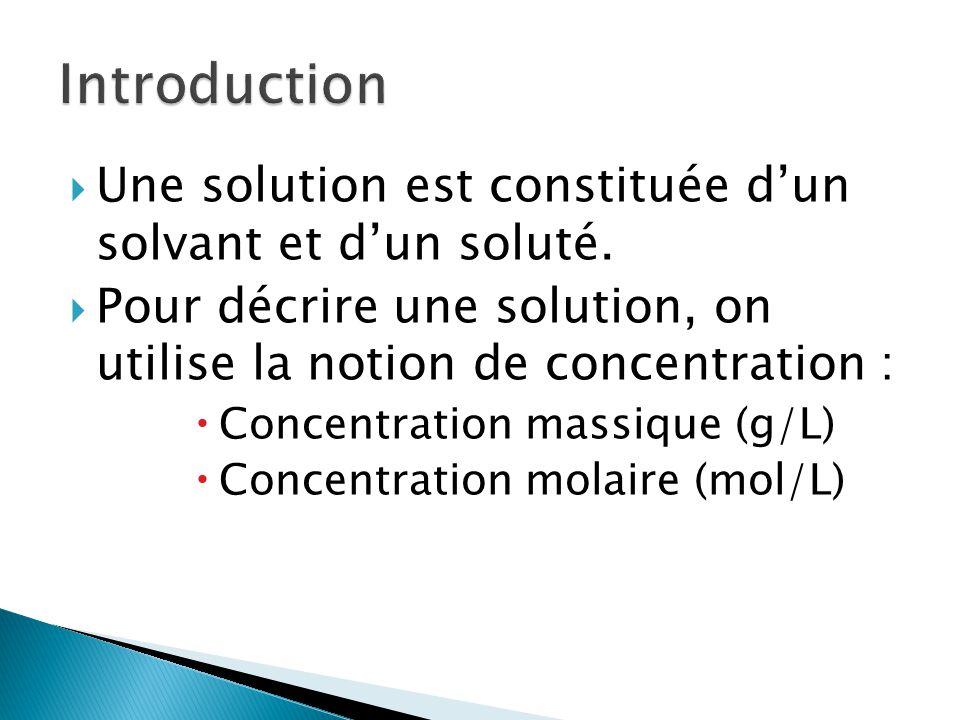Introduction Une solution est constituée d'un solvant et d'un soluté.