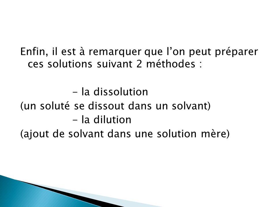 Enfin, il est à remarquer que l'on peut préparer ces solutions suivant 2 méthodes : - la dissolution (un soluté se dissout dans un solvant) - la dilution (ajout de solvant dans une solution mère)
