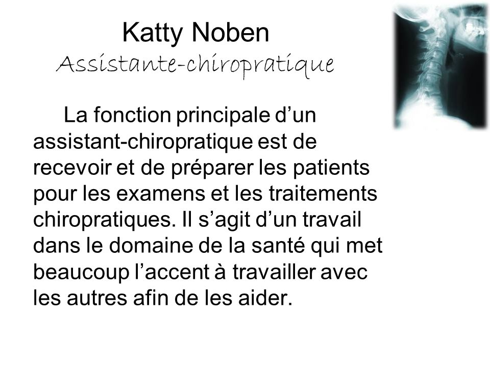 Katty Noben Assistante-chiropratique