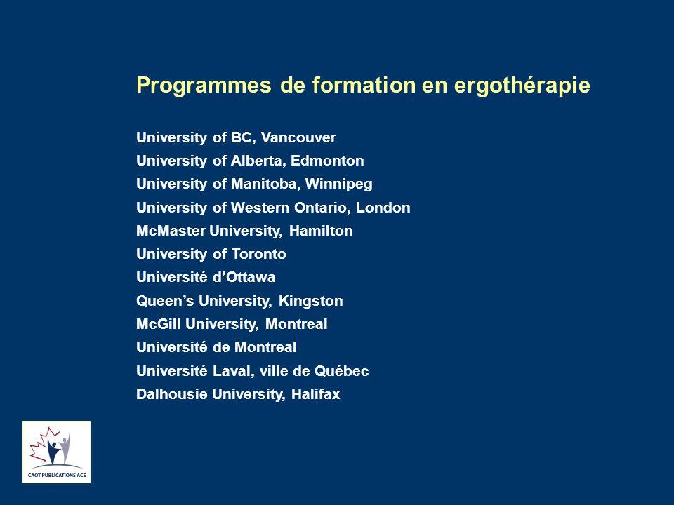Programmes de formation en ergothérapie