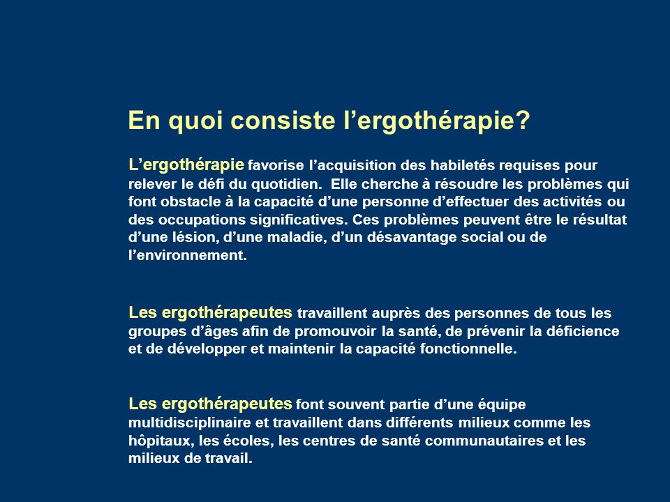 En quoi consiste l'ergothérapie