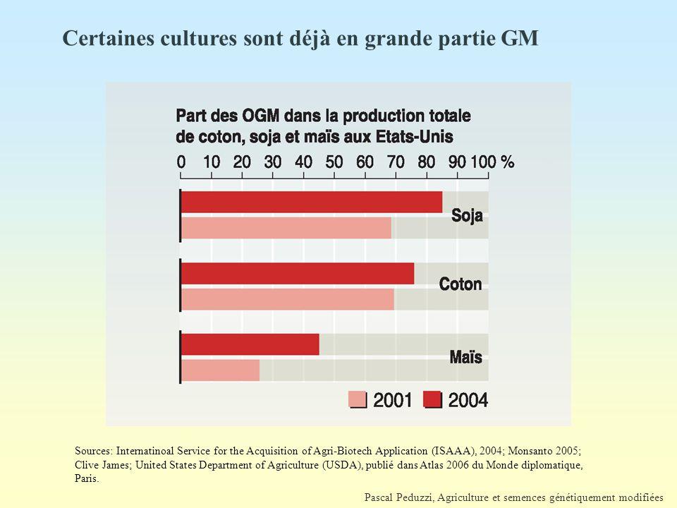 Certaines cultures sont déjà en grande partie GM
