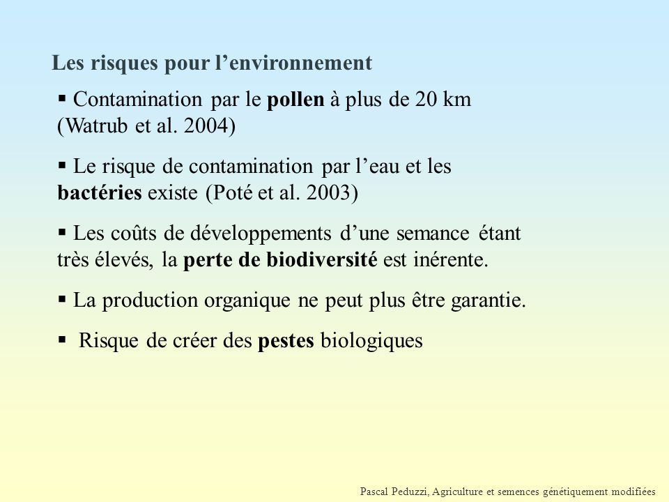 Les risques pour l'environnement