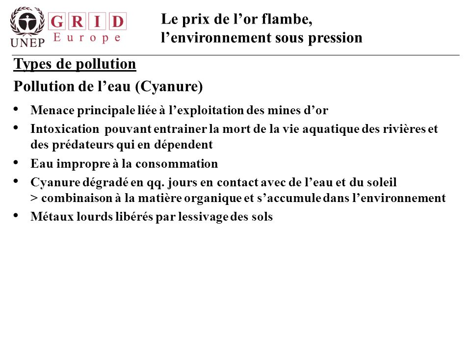 Pollution de l'eau (Cyanure)