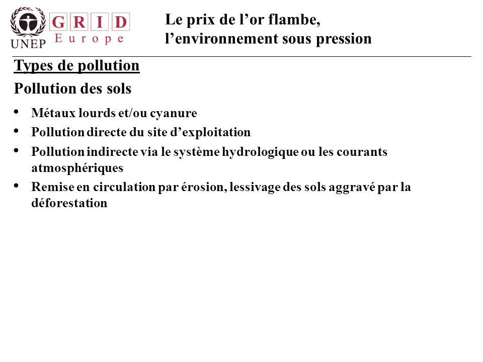 Types de pollution Pollution des sols Métaux lourds et/ou cyanure