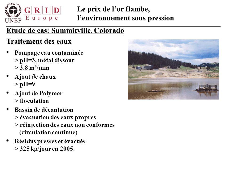 Etude de cas: Summitville, Colorado Traitement des eaux